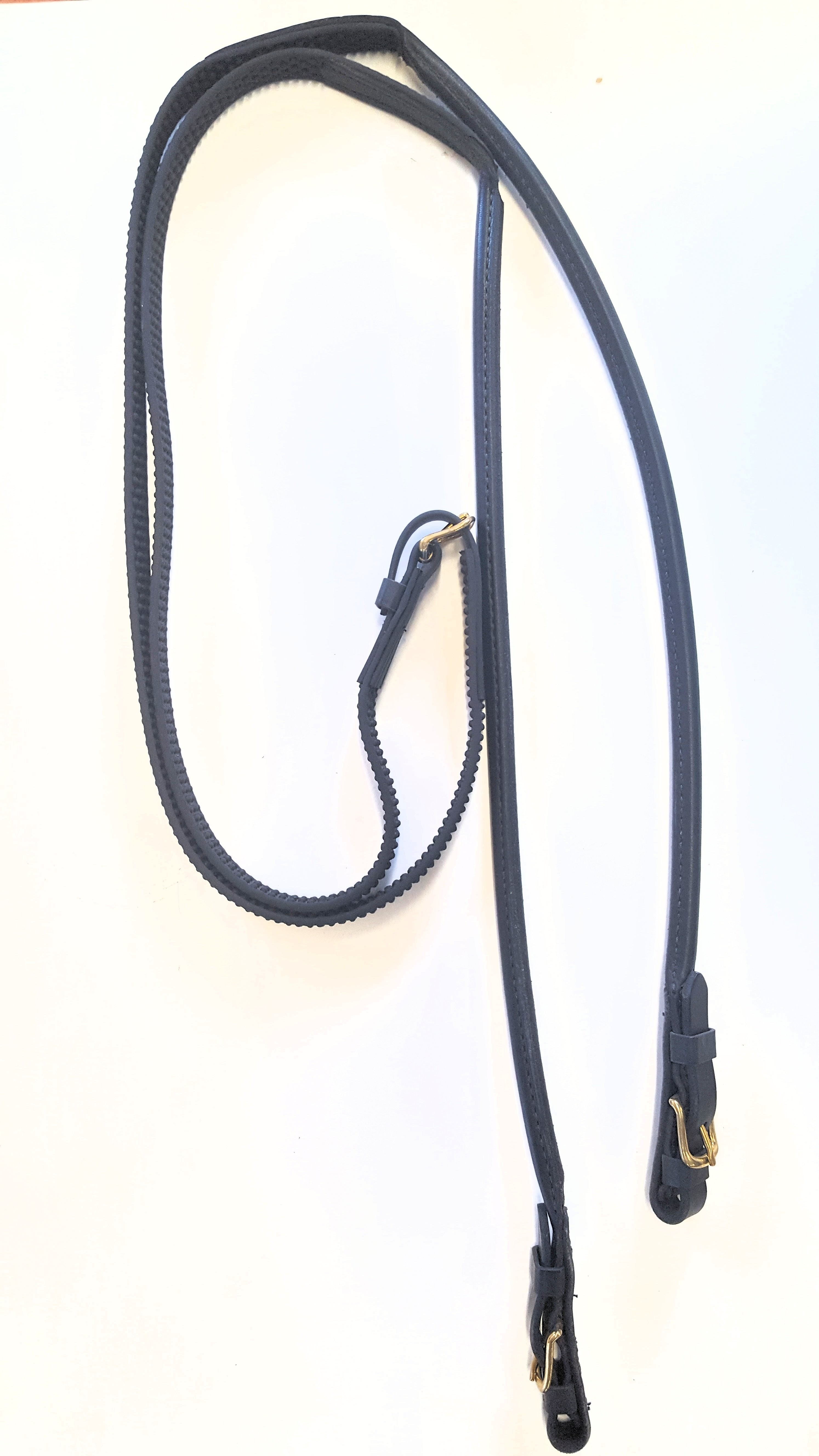 Super Grip English Reins with Rolled Leather at Bit End.