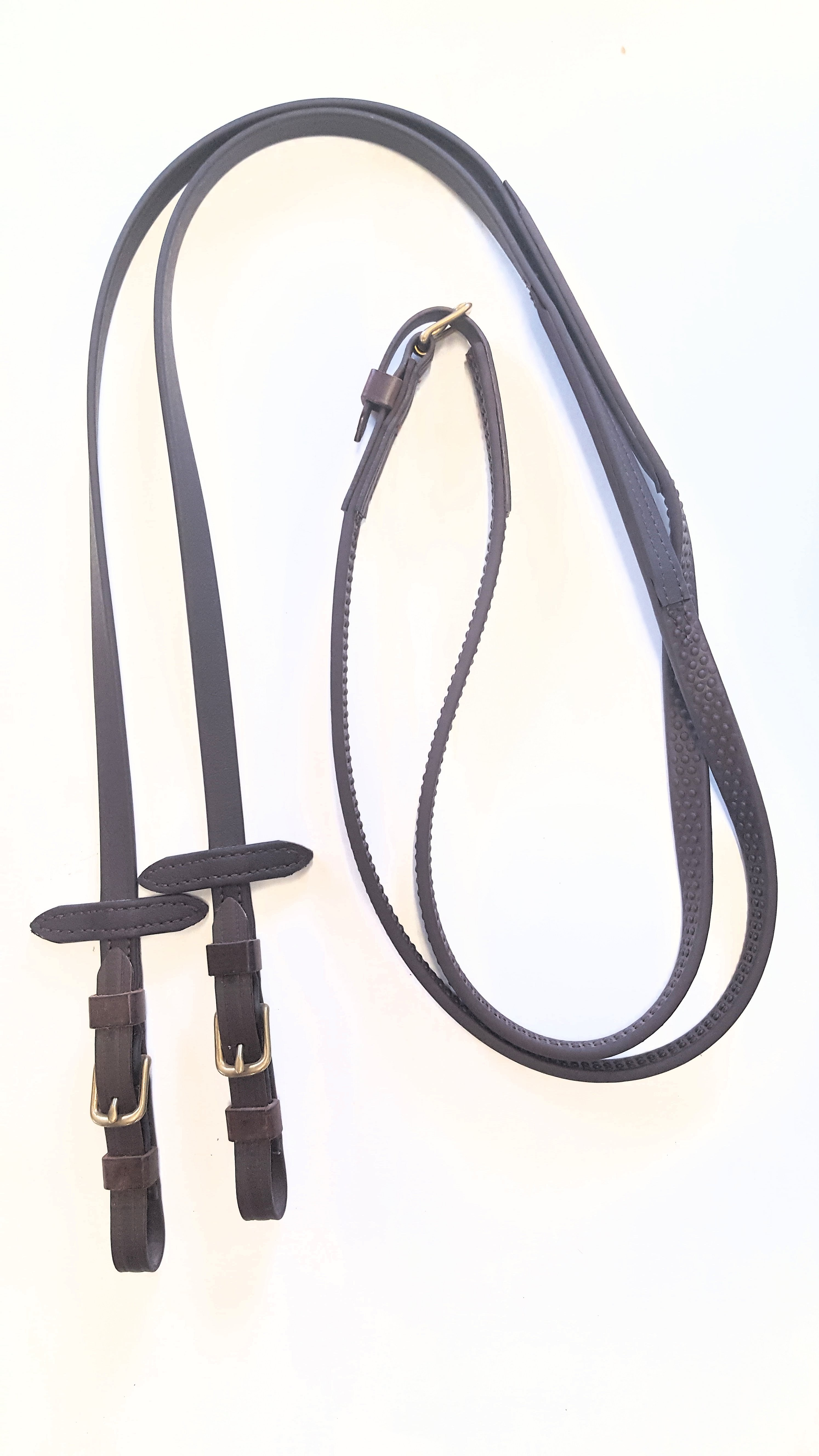 Super Grip English Reins with Martingale Stops.  Smooth at Bit end with buckles