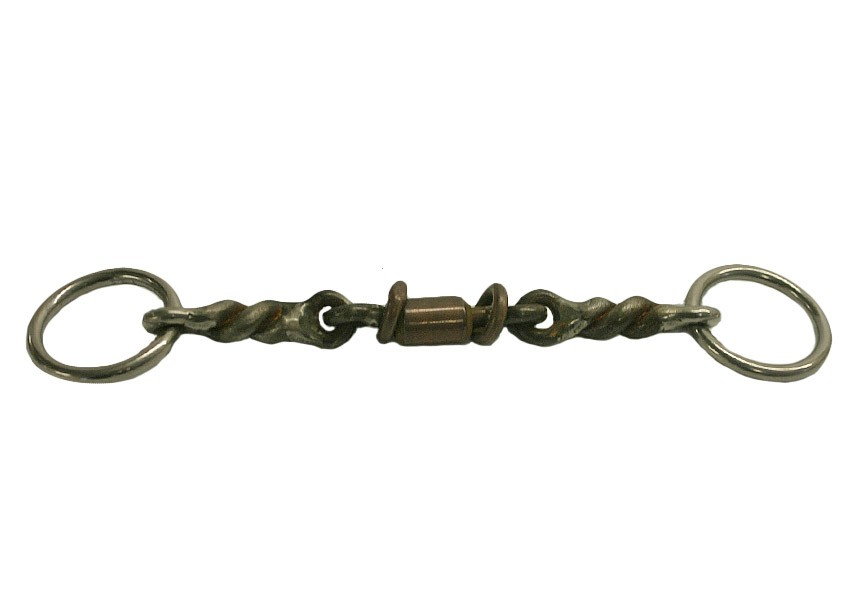 "1/2"" Twisted Wire with 3pc Copper roller Snaffle"