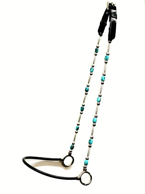 Silver and Turquoise Beaded Cheek Show or Presentation Halter