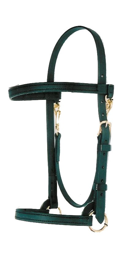 "3/4"" Training Halter with Brow Band.   Black Beta with Brass hardware."