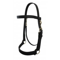 "Heavy Duty 1"" wide Beta Training Halter with Brow Band-Black"